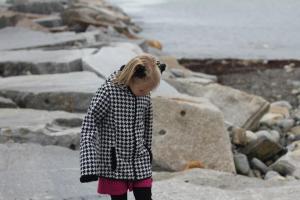 Arina on the rocks